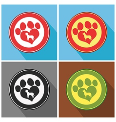 Paw mark icons vector