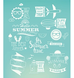 Summer holidays design elements on blue background vector image