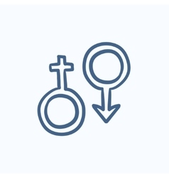 Male and female symbol sketch icon vector