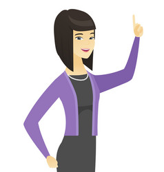 Asian business woman pointing her forefinger up vector