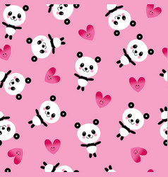 Baby panda bears and hearts seamless pattern vector