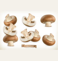 Brown cremini mushroom 3d icon set isolated on vector