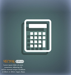 Calculator icon symbol on the blue-green abstract vector image vector image