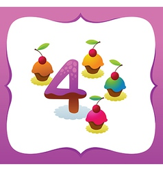 Collection Sweet Numbers for Kids 4 vector image vector image