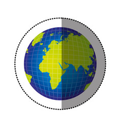 Color gobal planet map icon vector