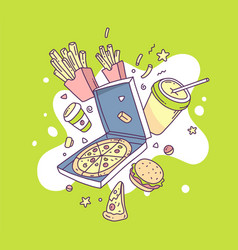 Colorful of fastfood pizza french fries coffee vector