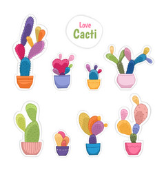 Colorful potted cacti plants patch sticker set vector