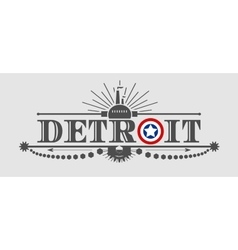 Detroit city name with flag colors styled letter O vector image vector image
