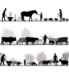 family of farmers vector image vector image