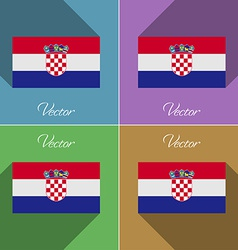 Flags Croatia Set of colors flat design and long vector image