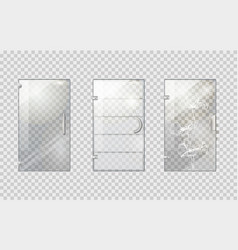 Glass door collection on transparent background vector