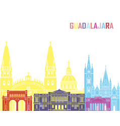 guadalajara mx skyline pop vector image