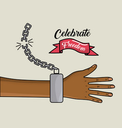 Hand with chain and ribbon design to celebrate vector