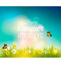 Happy summer holidays background with flowers vector image vector image