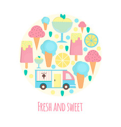 Ice cream van and bar in flat style vector