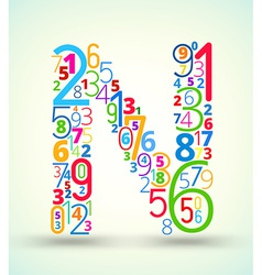 Letter N colored font from numbers vector image vector image