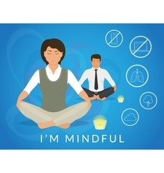 Office people sitting in calm lotus pose and vector