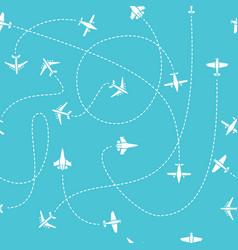 Plane travel seamless pattern world travelling vector
