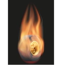 Race wheel with flame vector image