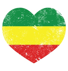 Rasta rastafarian retro heart shaped flag vector