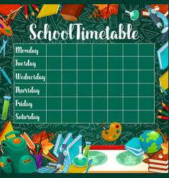 School timetable on green chalkboard vector