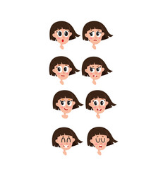 set collection of woman girl face expressions vector image