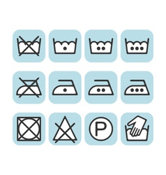 Set of instruction laundry icons care icons wash vector