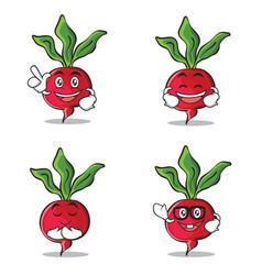 Set of radish character cartoon style vector