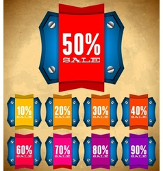 Set of vintage labels with sale discount percents vector image