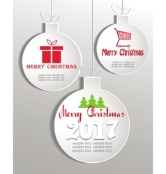 set of white Christmas balls vector image vector image