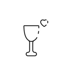 Thin line love glass icon vector