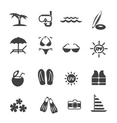 travel vacation icons set vector image