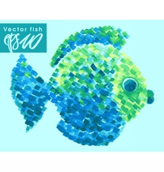 Watercolor fish pointillism style vector