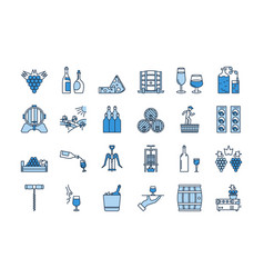 04 blue wine production icon set vector image