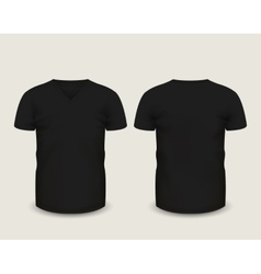 Black v-neck shirts template vector