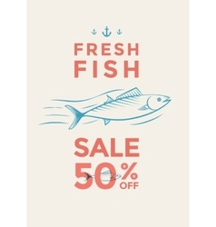 Fish sale poster vector image