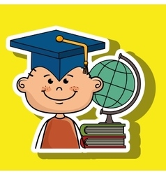 Student boy world map book vector