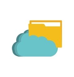 cloud folder file paper technology vector image