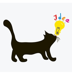 Cat with idea light bulb vector