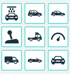 Automobile icons set collection of van auto vector