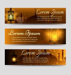 Shining arabic banners template vector
