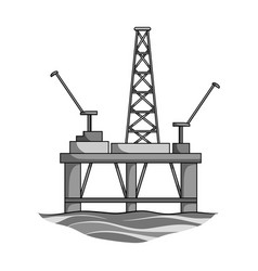 Oil rig on the wateroil single icon in monochrome vector