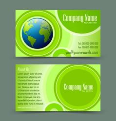 Globe theme business card vector image