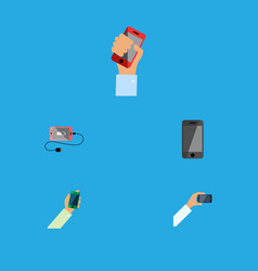 Flat icon touchscreen set of telephone smartphone vector