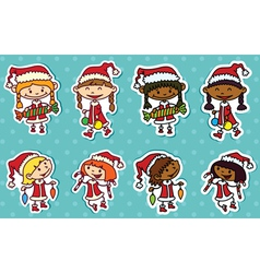 Christmas stikers vector image