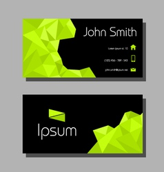 Business card polygon style - green and black vector image