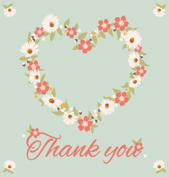 Vintage thank you card flower vector