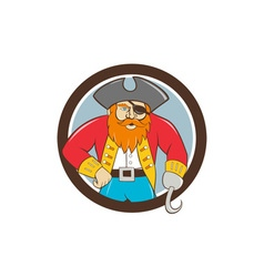 Captain hook pirate circle cartoon vector
