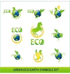 nature eco earth green color sign set vector image