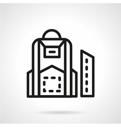 Black line school backpack icon vector